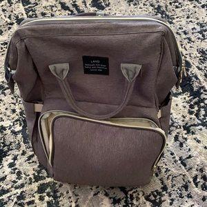 Land baby diaper bag backpack in grey 13 pockets